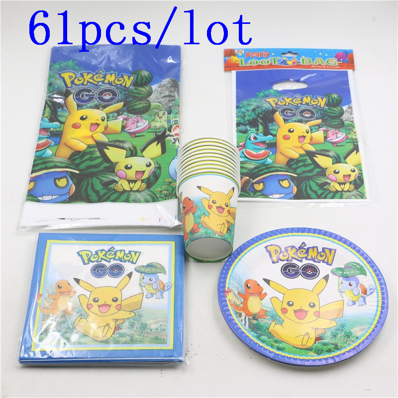61pcs\lot Kids Favors Pikachu Napkins Baby Shower Party Plates Cups Pokemon Go Tablecloth Gift Bags Birthday Decoration Supplies