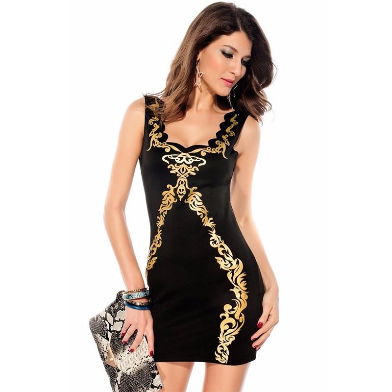 7c342f468f9 Wonder beauty Black Mini Dress With Gold Flowers Fashion Sleeveless Club  Style Women Summer Sexy Slim Tunic Work Pencil Dresses-in Dresses from  Women's ...