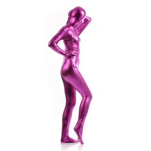 (MZS027) Rose Pink Shiny Metallic Tights for classic halloween costumes Unisex original Fetish Zentai Suits