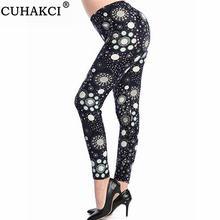 Cuhakci Модные женские леггинсы с цветочным принтом для фитнеса