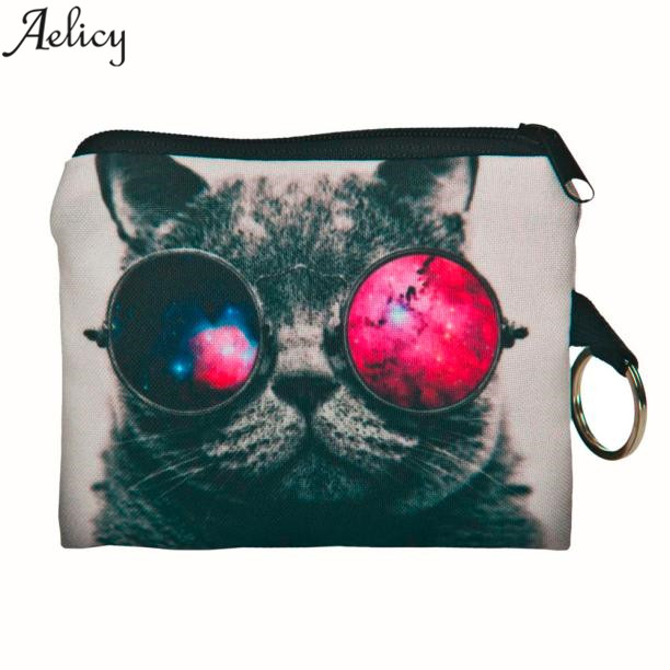 Aelicy 2018 New Cute Cat Face Zipper Coin Purse female Girl Printing Change Child Purse Makeup Bag Clutch Wallet Phone Key Bags