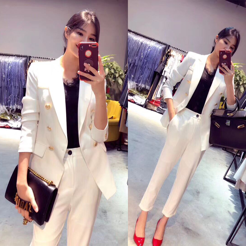 Dames Pantalon Tenues Travail Professionnel Pour Bureau blanc Femelle Costumes Pièce Blazers Vestes Ensembles 2 Avec Nouveau D'affaires Noir gqvdExnq8