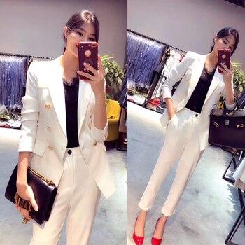 bc60235b5010 Nuevos trajes profesionales de trabajo de negocios con chaquetas de 2  piezas + Pantalones para damas chaquetas de oficina conjuntos de pantalones  femeninos