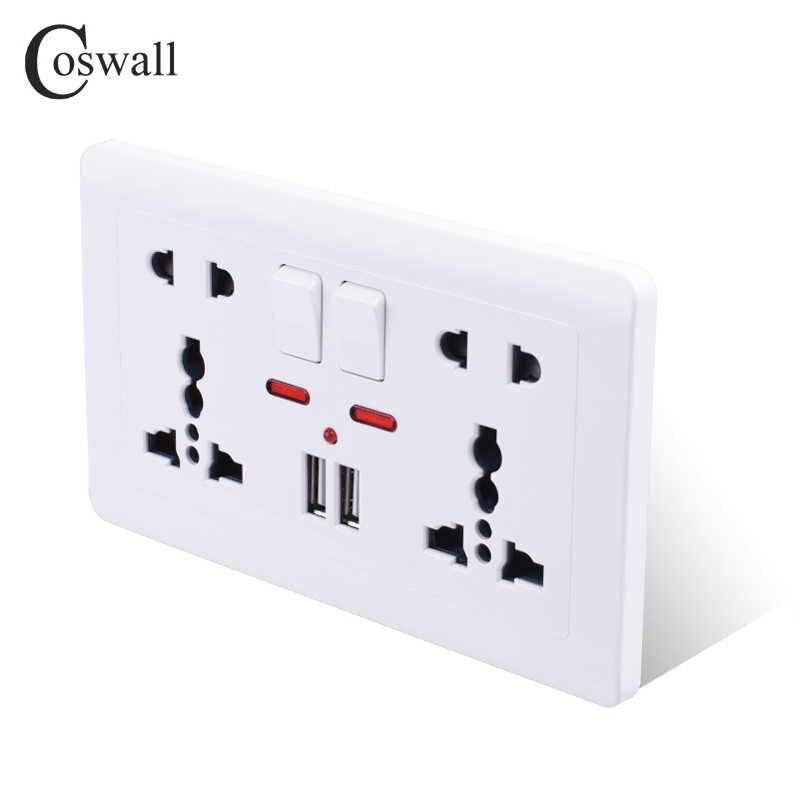 Coswall 壁電源ソケットダブルユニバーサル 5 穴コンセント切り替える 2.1A デュアル USB 充電ポート LED インジケータ 146 ミリメートル * 86 ミリメートル