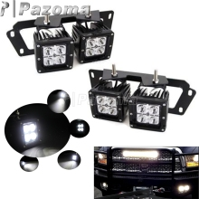 Dual LED Fog Light Pods with Bumper Location Bracket Wiring Adapters for 2009-2012 Dodge RAM 1500 2010-2018 Dodge RAM 2500 3500