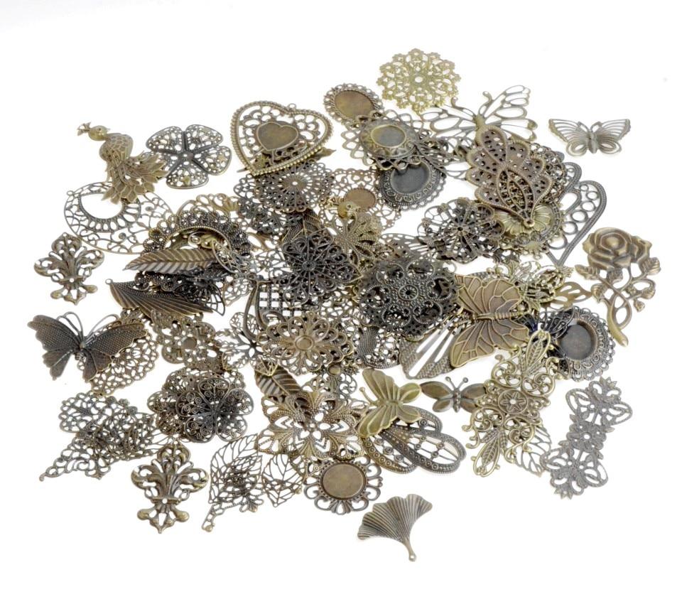 Free Shipping! 30Pcs Antique Bronze Mixed Metal Filigree Wraps Connectors Metal Crafts Gift Decoration DIY