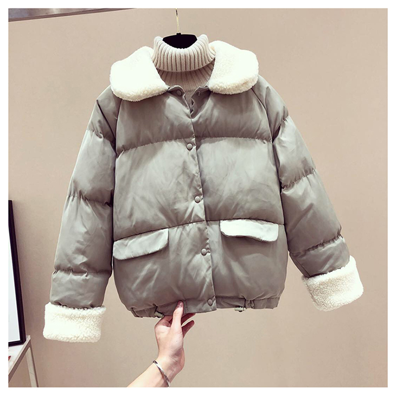 Korean Loose Down Lamb   Parkas   Fur   Parka   Puffer Jacket Gothic Harajuku Kawaii Korean Bubble Coat   Parka   Womens Coats Winter