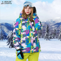 HIGH EXPERIENCE Winter Ski Jacket+Pant Women Waterproof Snowboard Suits Climbing Snow Female Skiing Clothes Suit Set Girls