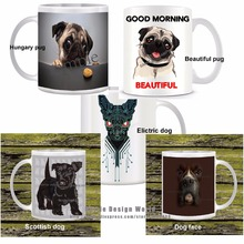 Cute dog funny novelty travel mug Ceramic white coffee tea cup personalized Birthday Easter gifts Hungry pug dog lover mug(China)