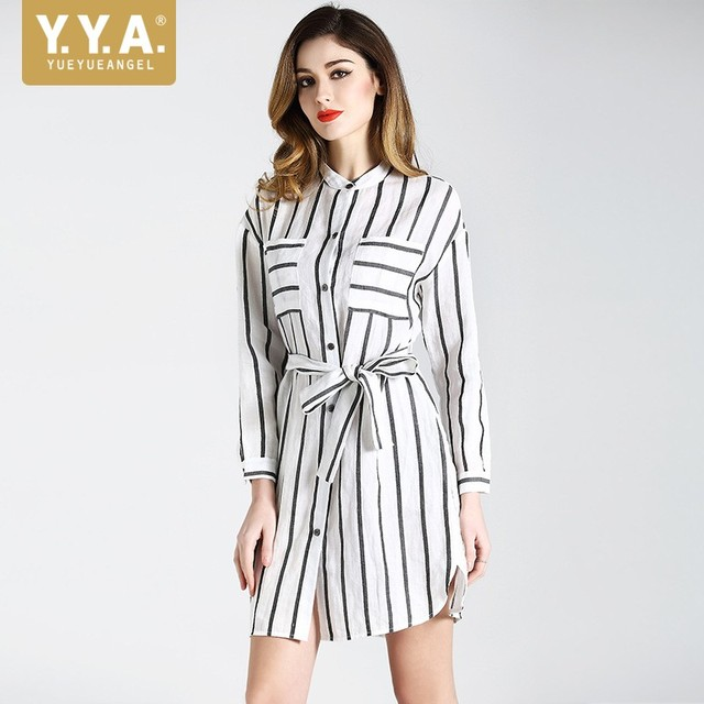 2018 Boyfriend Loose Fit Striped Shirts Dress Women Cotton Linen Belted OL  Casual Mini Dresses Long Sleeved Beach Sommer Kleid f8c74899f