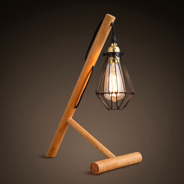 Loft Vintage Industrial Wood Stand Table Light Edison Cage Desk Lamp Cafe  Bar For Study Room