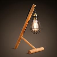 Loft Vintage Industrial Wood Stand Table Light Edison Cage Desk Lamp Cafe Bar For Study Room Bedroom