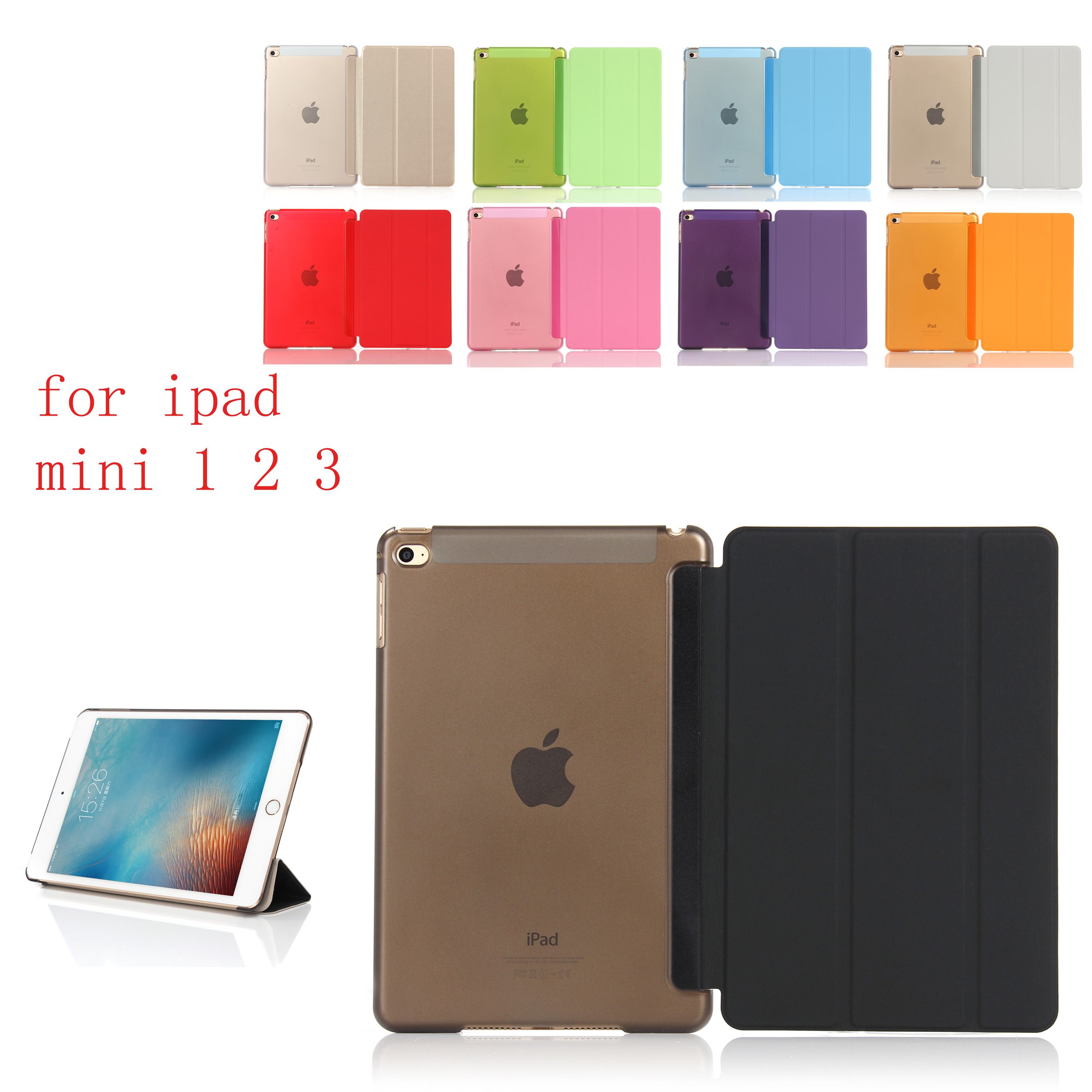 PC Leather Case for Apple iPad mini 1 2 3 Fashion Smart Cover PC translucent back Cover HUEVN for A1600 A1599 A1490 A1491 in Laptop Bags Cases from Computer Office
