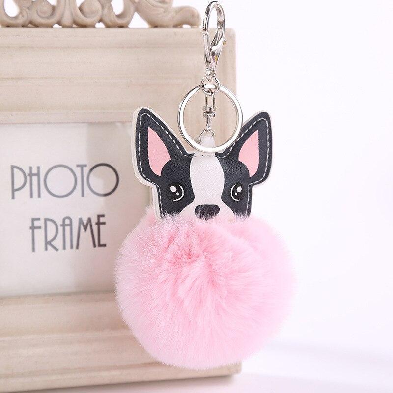Fluffy Artificial Rex Rabbit Fur Keychain Chihuahua Dog Key Chain Women Pompom Ball Keyring Car Pendant Bag Charm Jewelry real rex rabbit fur keychain pompon keyring for women bag charm