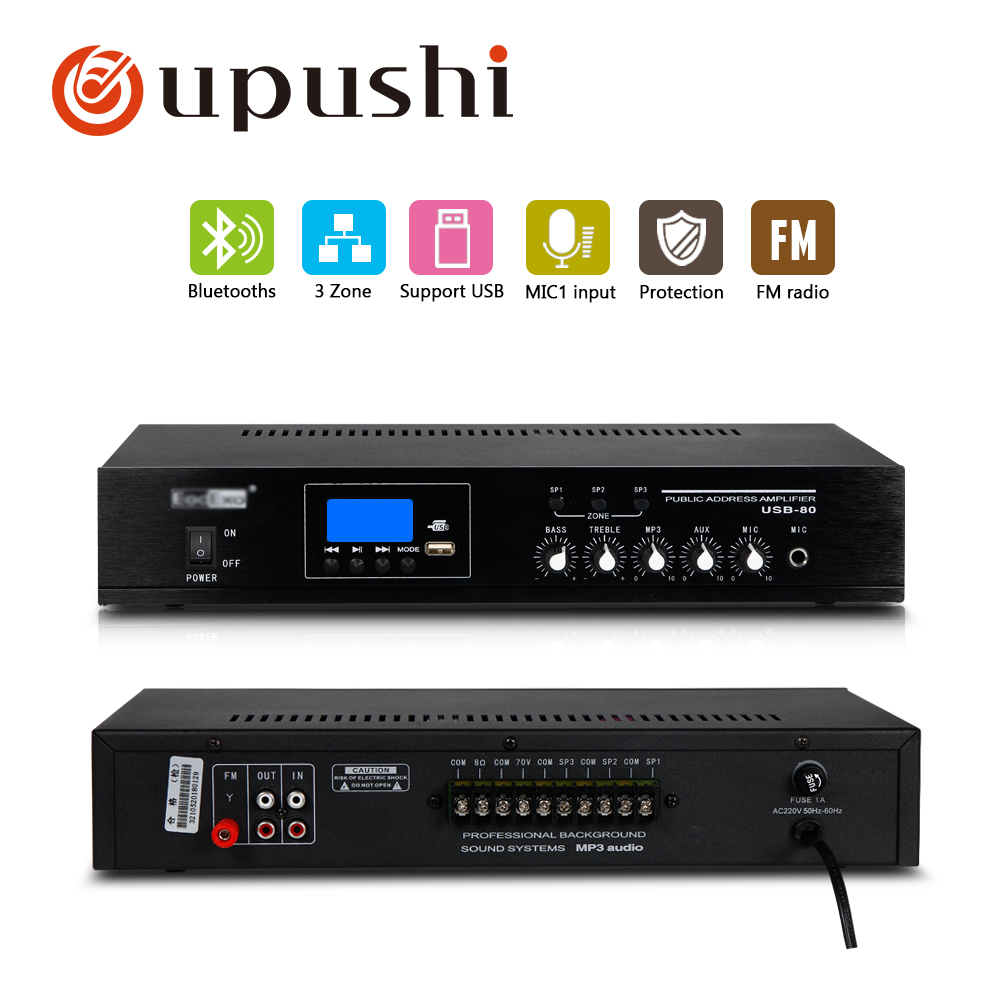 цена на Oupushi PA Bluetooth 3 zone Amplifier 80W Home Use Mini Mixer USB Bluetooths Amplifier With Ceiling Speaker, Wall Speaker