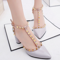 Bride wedding shoes  2017 summer new Fashion ladies Liu nail go-go high heels Patent Leather  Patent Leather