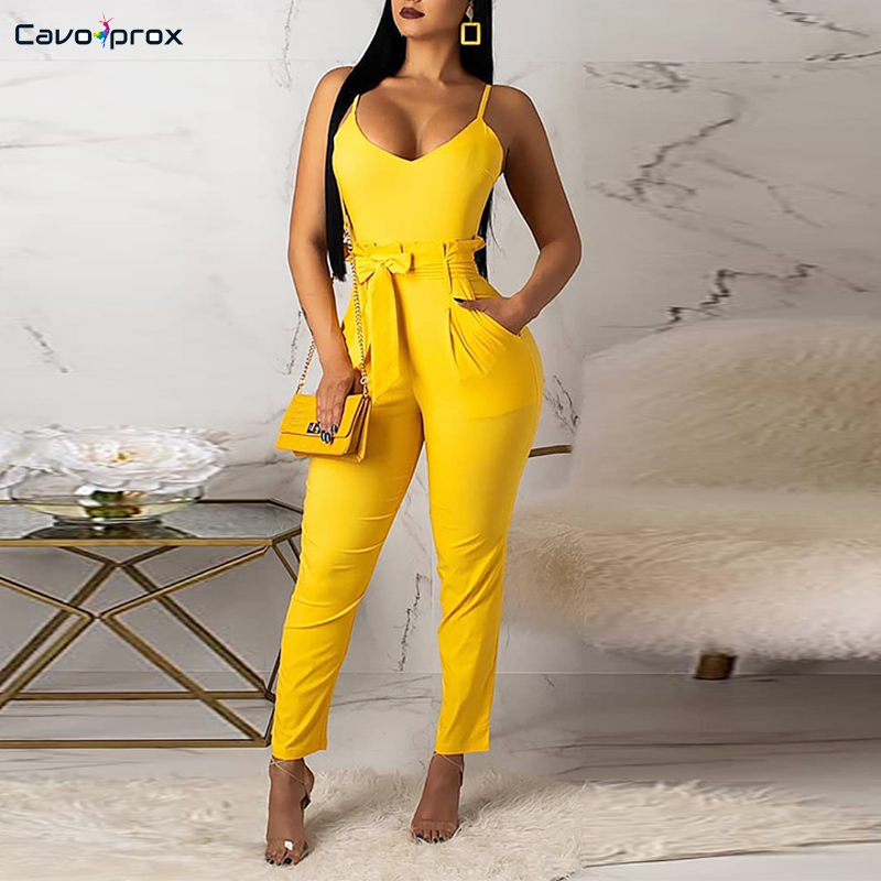 Women Spaghetti Strap Ruffled Waist Belted   Jumpsuits   Casual Solid Deep V-neck Bodycon Summer Street Wear Plus Size   Jumpsuits