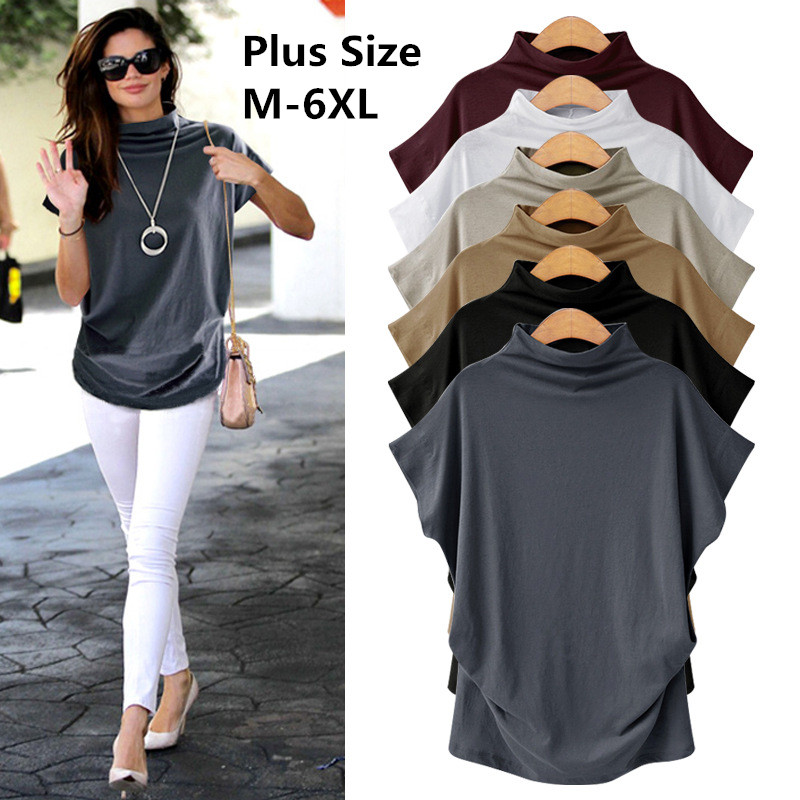 ccaafde9769 Cotton t shirt Women Tops 2019 New Plus Size Loose Womens Shirt Turlneck Fashion  Large Size Female Top
