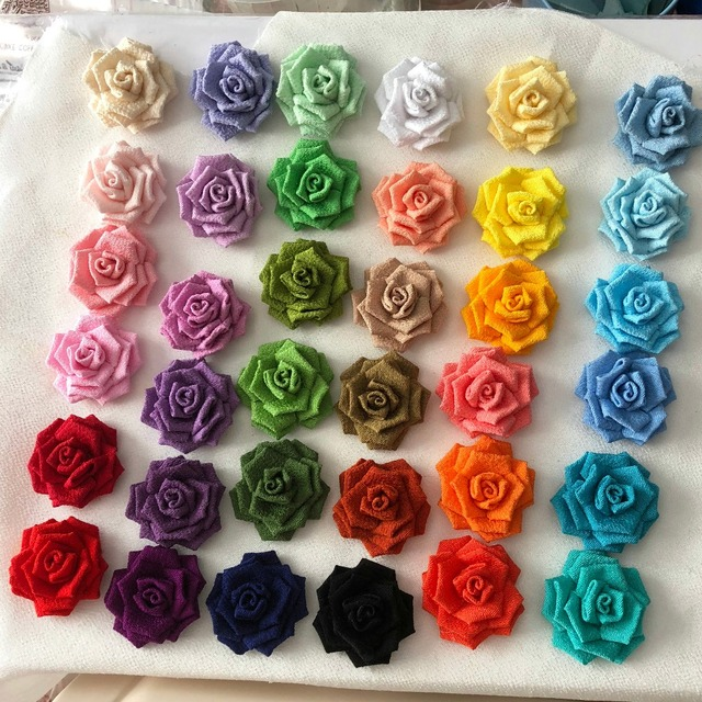 36 Colors Handmade Fabric Roses DIY Flowers Craft Supplies To Make Lapel Flower Pins Bridal Hair