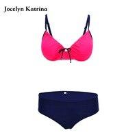 Swimsuit 2017 Newest Sexy Bikini Woman Push Up Swimwear Solid Drawstring Bikini Set Two Bottoms Bathing