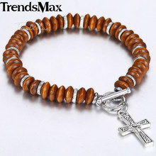 8.5mm Women's Men's Brown Abacus Wood Beads Beaded Bracelet Alloy Cross Charm Bracelet TO Buckle Dropshipping Jewelry 2018 KDB44(Hong Kong,China)