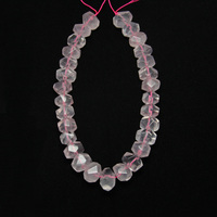 Large Smooth Natural Rose Quartz Faceted Nugget Beads Middle Drilled Raw Light Pink Crystals Stone Strand
