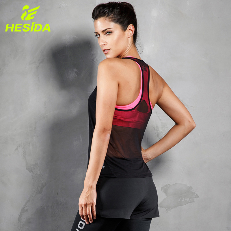 купить Tank Top Women Fitness Running Mesh Racerback Sleeveless Shirt Breathable Quick Drying Workout Yoga Sexy Sports Gym Vest Female по цене 539.9 рублей