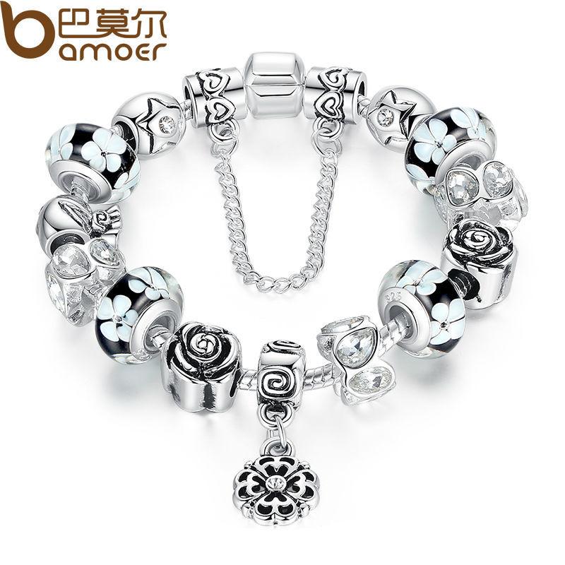 BAMOER Silver Flower Glass Bead Female Bracelet With Safety Chain Strand Bracelet Bijoux Women Clothing Accessories PA1835