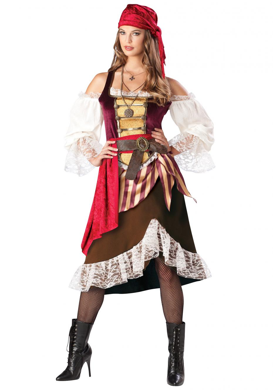 2016 New Womens Deckhand Darlin Pirate Costume,Deluxe Lady Caribbean  Swashbuckling Sexy Pirate Wench fancy Dress Costume B1103