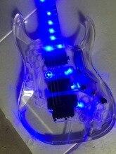 Электрогитара/anmiyue изысканный акриловый гитара/Выгравированный узор синий свет/настраиваемый