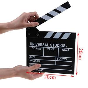 Image 3 - 20*20 cm מנהל וידאו אקריליק עץ יבש למחוק טלוויזיה סרט סרט קלאפר לוח צפחה עם צבע מקלות