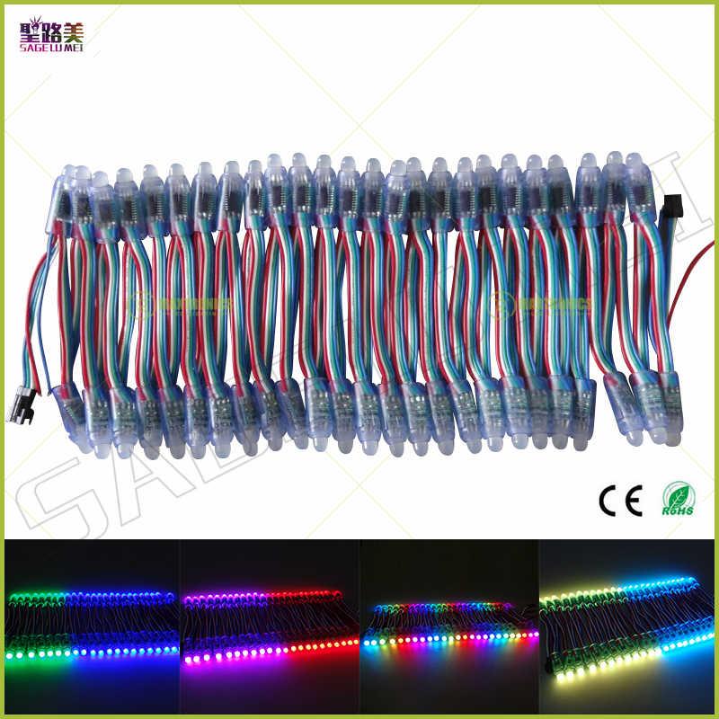 Бесплатная доставка DC5V 12 мм WS2811IC led pixel модуль цифровой Full Цвет RGB автономные адресные провода Строка огни водонепроницаемый IP68