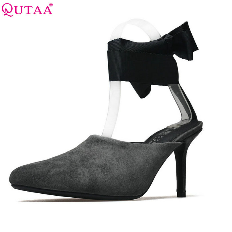 QUTAA 2018 Women Pumps Thin High Heel Woman Shoes Kid Suede Pointed Toe Elegant Ankle Strap Ladies Wedding Shoes Size 34-39 plus big size 34 47 shoes woman 2017 new arrival wedding ladies high heel fashion sweet dress pointed toe women pumps a 3