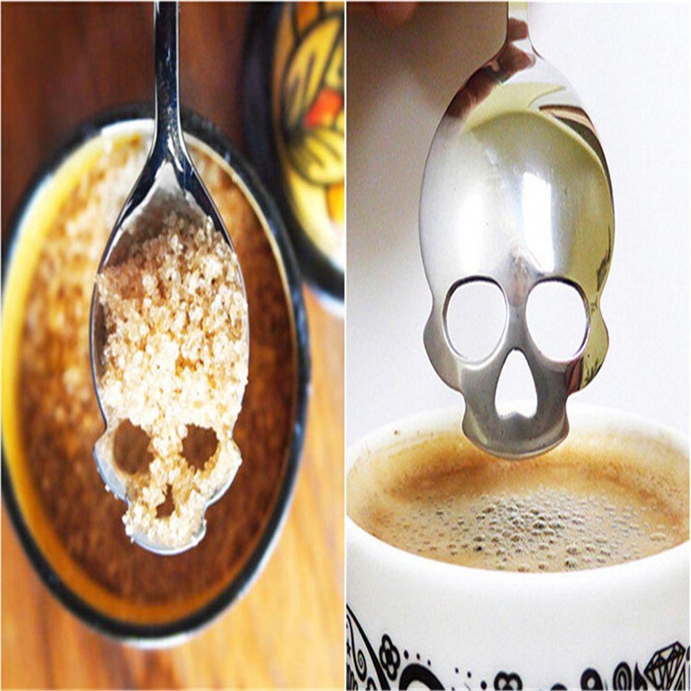 KANNERT в виде черепа из тонкого ложка 304 Нержавеющая сталь десертная кофейная ложка для мороженого, сладостей чайная ложка из нержавеющей Еда столовые приборы