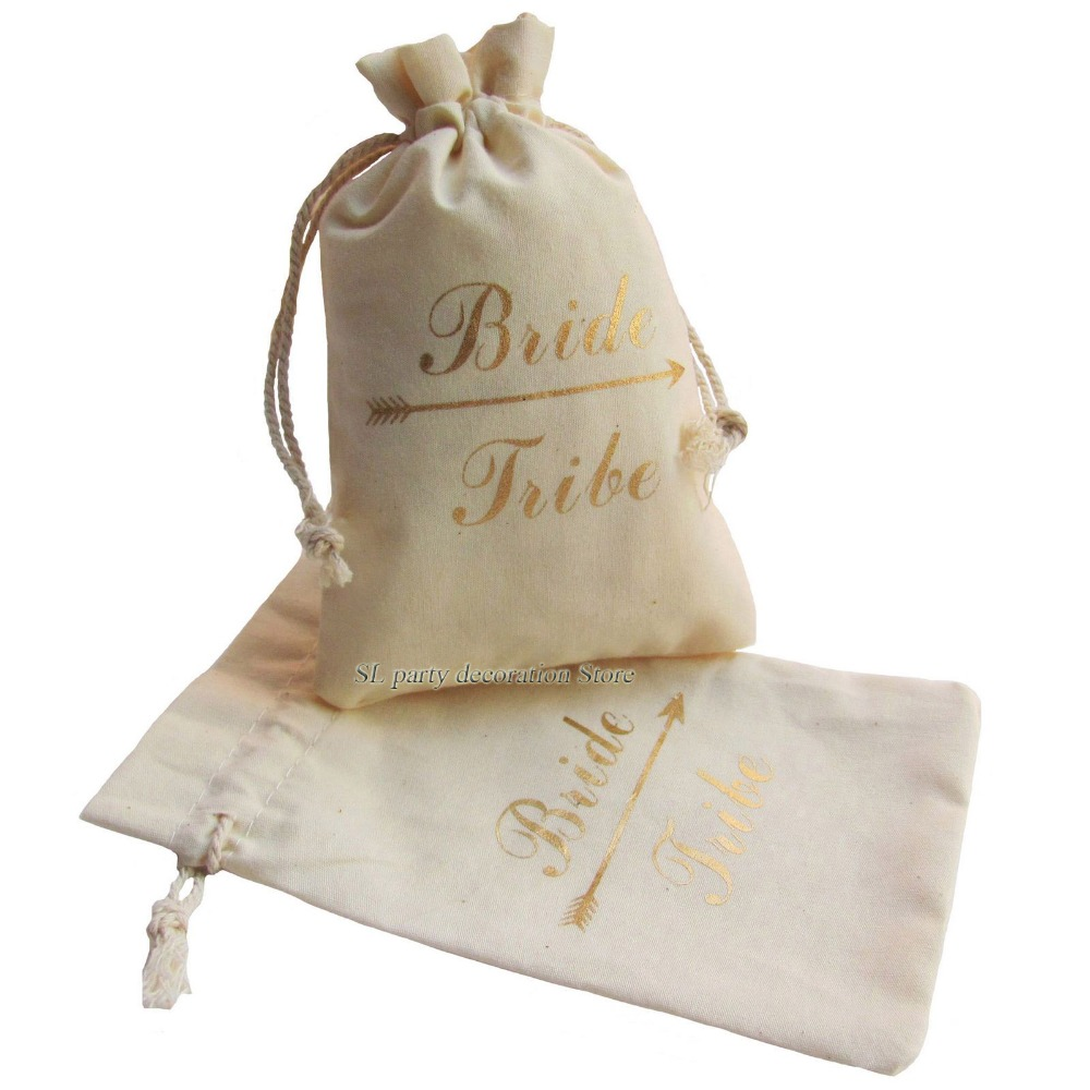 10pcs Gold Bride Tribe Unbleached Natural Cotton Muslin Bags ...