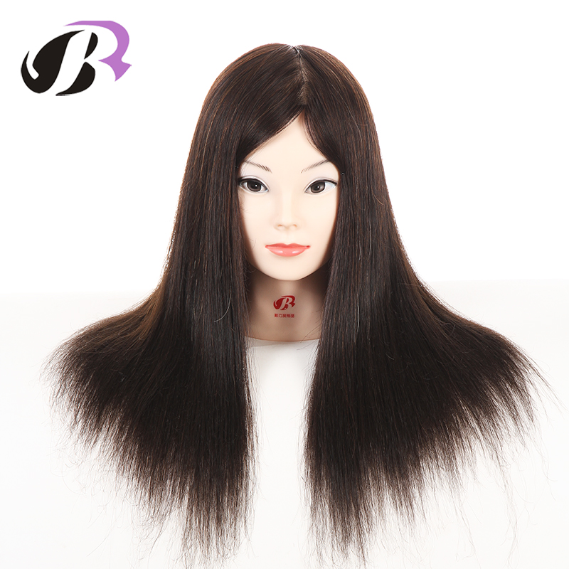 Female 45cm Professional Hairstyling Training Head Real Human Hair Mannequin Hairstyles Model Manikin Wig Dolls With Clamp hot sale 8 male mannequin head 100% virgin human hair hairdressing training head hairstyles manikin head dolls with free clamp