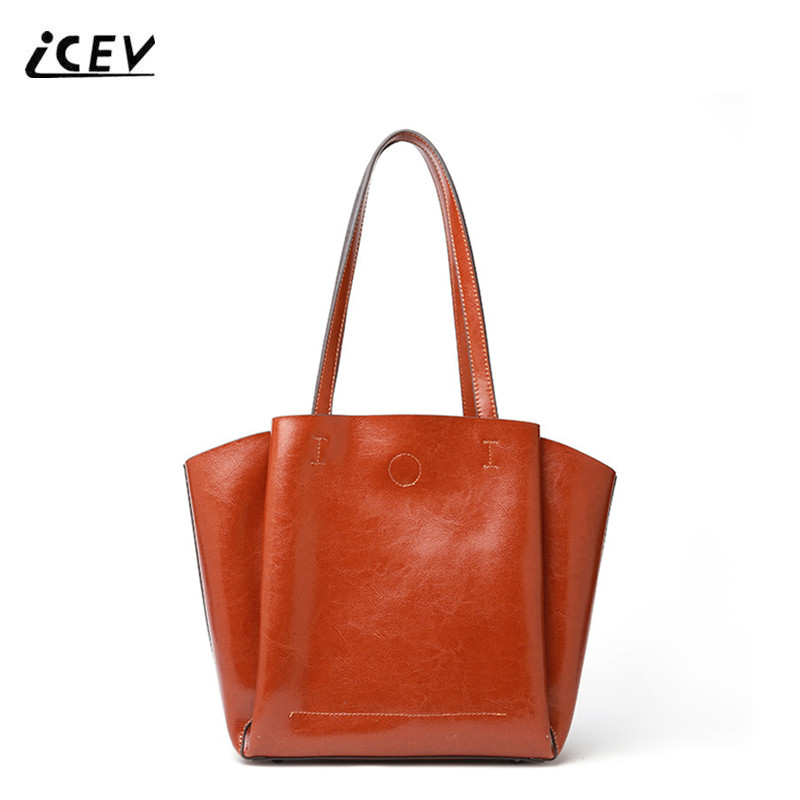 ICEV European Fashion Ladies Office Totes Genuine Leather Handbags Women Leather Handbags Bags Set Handbags Women Famous Brands icev new fashion europe style genuine leather handbags alligator women leather handbags bags handbags women famous brands bolsa