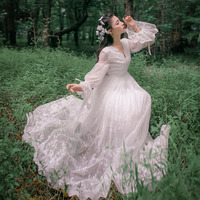 Heavy Embroidery Lace V Collar Long Sleeved Dress Retro Slim Fairy Dress