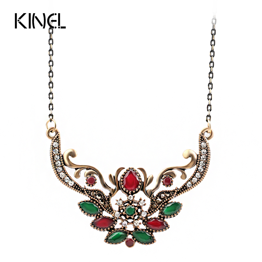 Kinel Vintage Jewelry Fashion Indian Pendant Necklace For Women Ancient Gold Color Choker Bohemia Necklace Jewelry Wholesale Ювелирное изделие