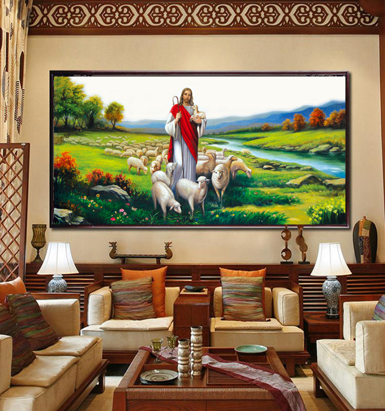 Jesus Shepherd print Cross Stitch Kits Figures Living Room Decorative Painting Landscapes DIY needlework set wall