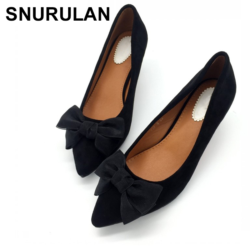 SNURULAN Spring Autumn Shoes Women Pumps High Heels Shoes Butterfly-Knot Flock Pointed Toe Slip-On Ladies Single Shoes E696