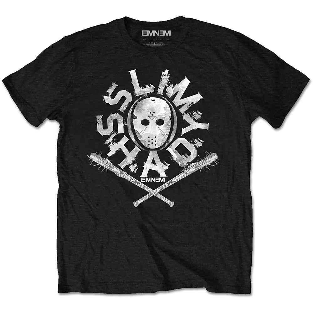 Eminem Slim Shady Masker Poster Rap Hip Hop Muziek Officiële Mens Black T-shirt 100% katoen t-shirt, tops groothandel tee