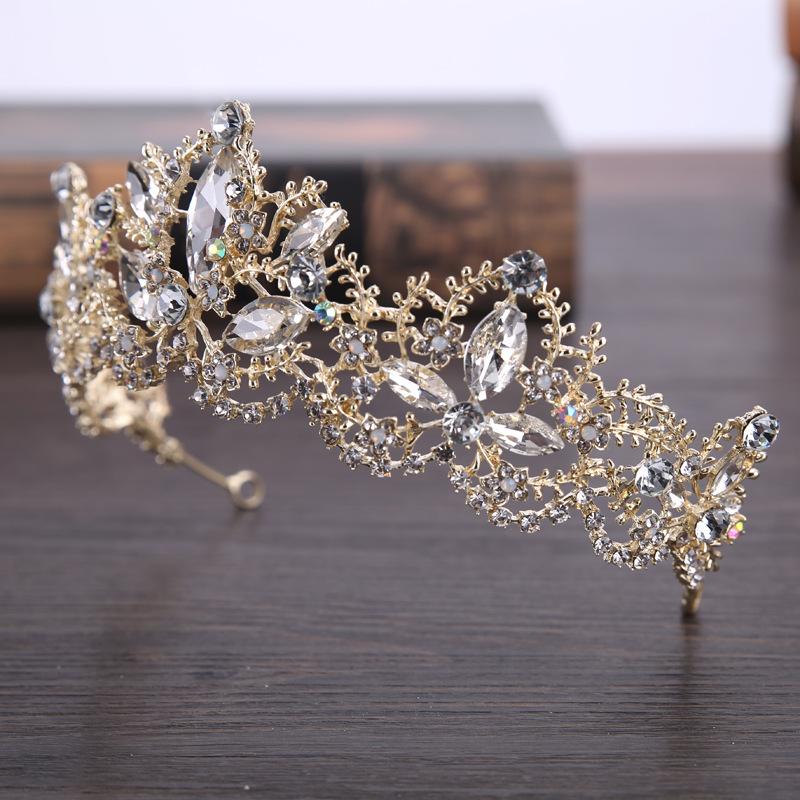 New Fashion Baroque Luxury Crystal AB Bridal Crown Tiaras Light Gold Diadem Tiaras for Women Bride Wedding Hair Accessories 2