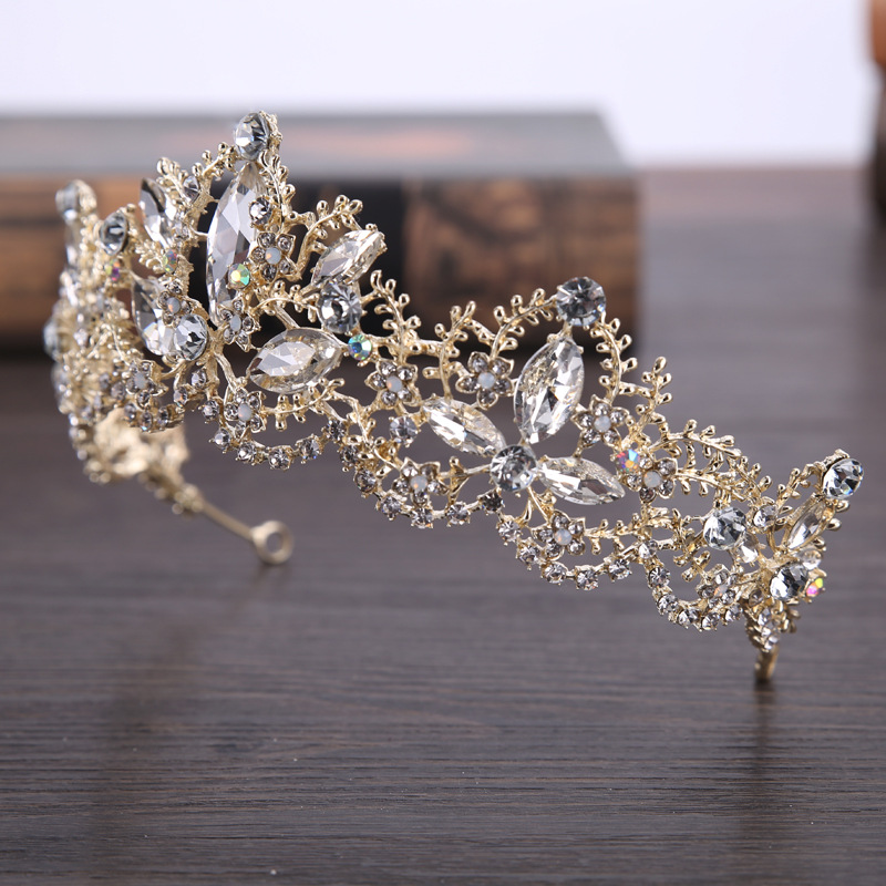 New Fashion Baroque Luxury Crystal AB Bridal Crown Tiaras Light Gold Diadem Tiaras for Women Bride Wedding Hair Accessories 2