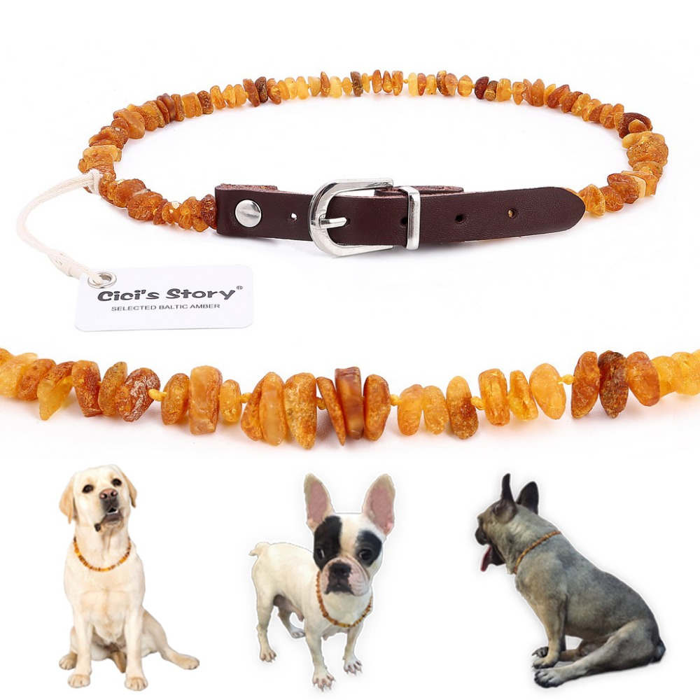 Baltic Amber Flea and Tick Collar with Adjustable Leather Strap for Dogs and Cats - Lab Tested