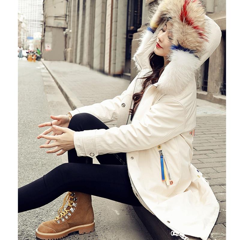Moyen Long Qualité 2019 De Femmes Mode Capuche Doudoune Taille Supérieure Col Chaud Beige Nuw214 black Hiver Fourrure Grande Nouvelle wgYZ6qEwn