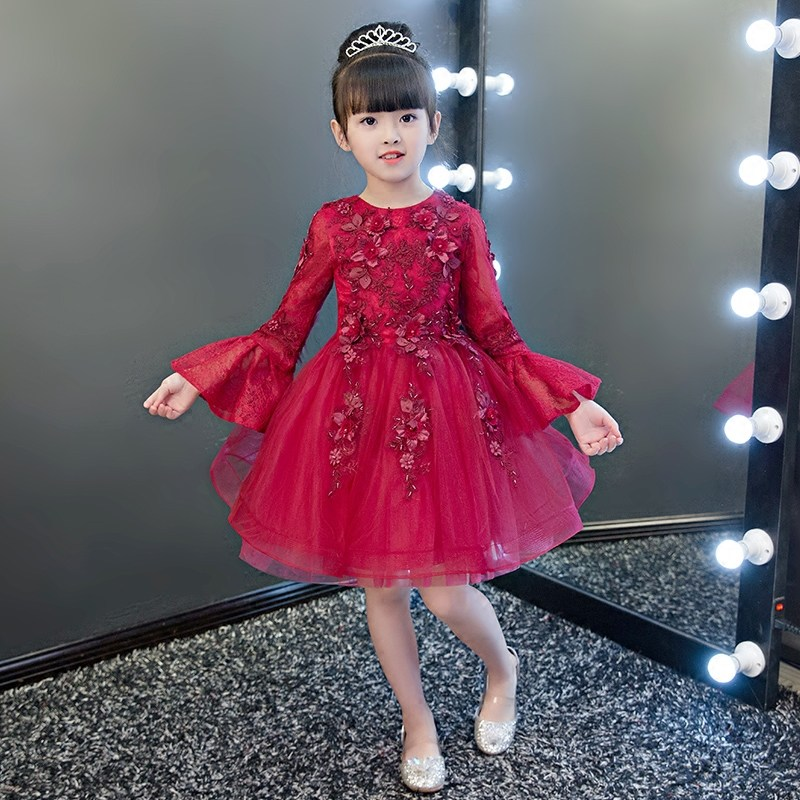 Glizt Bead Red Tulle first communion dresses for girls Vestido Daminha Casamento Luxury Ball Gown Flower Girl Dresses цены онлайн