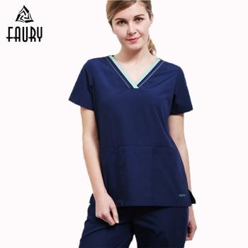 Fashion Medical Suit Surgical Clothes Scrub Sets Summer Dental Pet Hospital Beauty Salon Work Wear Top and Pants Women Men