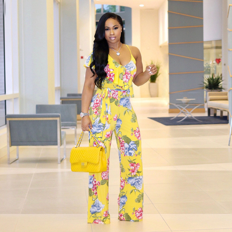 Casual Floral Print Flare Pants Backless Rompers 2018 Sexy Womens Spaghetti Strap Ruffle V-Neck Summer Jumpsuits