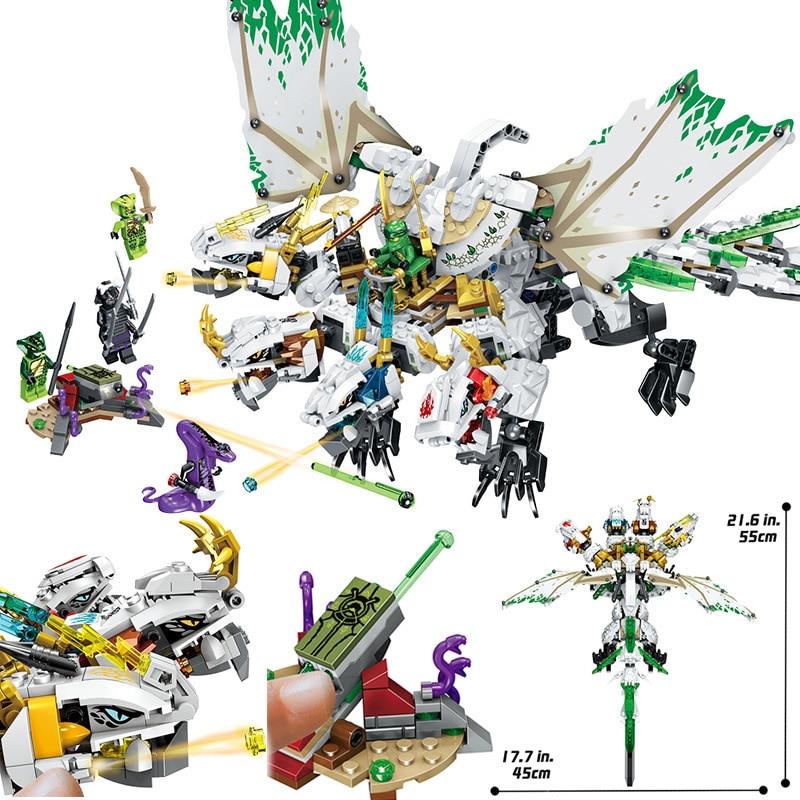 1100pcs Ninja The Ultra Dragon Compatible LegolyING Ninjagoes Dragon Building Blocks Bricks Toys for Children Birthday